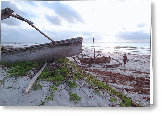early morning African fisherman and wooden dhows Greeting Card