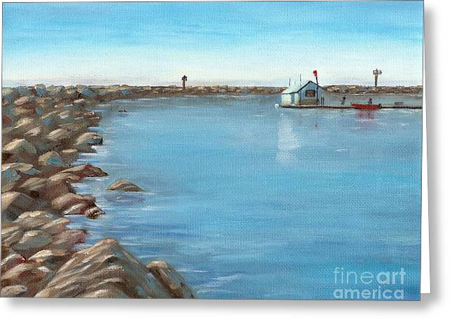 Greeting Card featuring the painting Early Morning At Dana Point by Mary Scott
