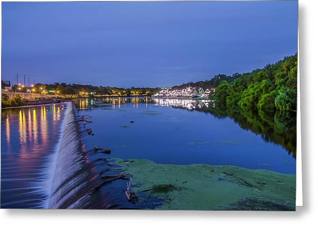 Early Morning At Fairmount Dam Greeting Card by Bill Cannon