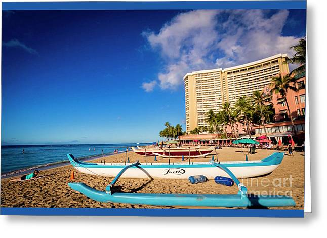 Early Morning At Outrigger Beach,hawaii Greeting Card