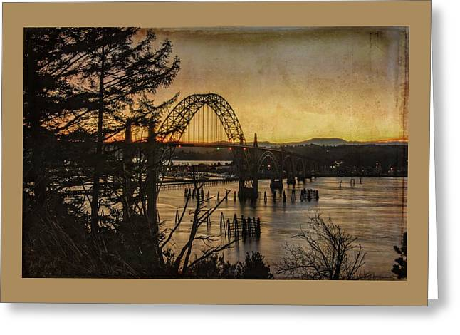 Early Morning At The Yaquina Bay Bridge  Greeting Card