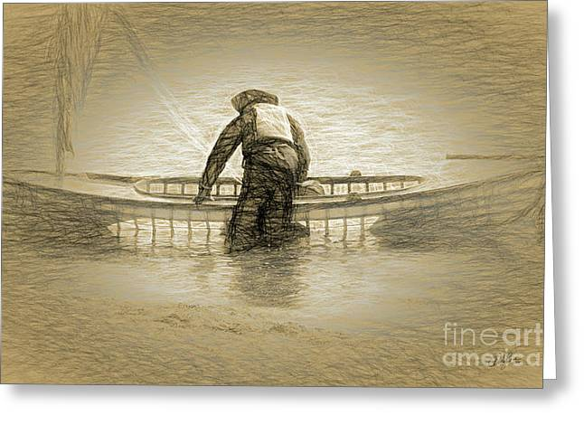 Early Morning Canoe Ride Greeting Card by Cheryl Rose