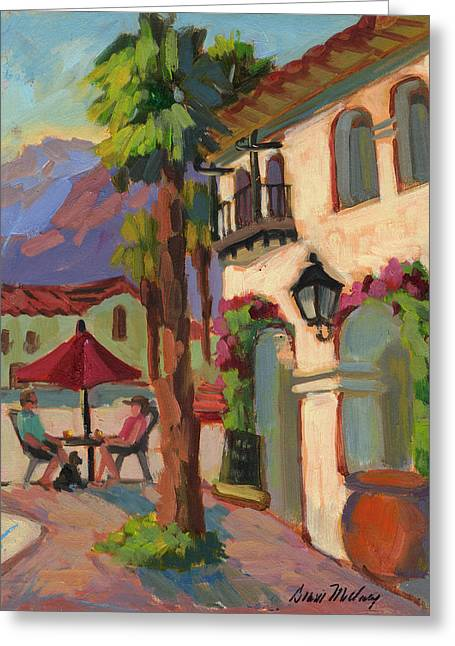 Morn Greeting Cards - Early Morning Coffee at Old Town La Quinta Greeting Card by Diane McClary