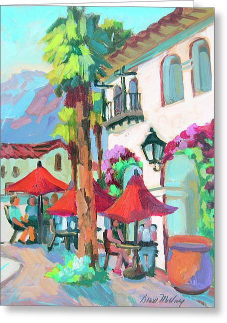 Greeting Card featuring the painting Early Morning Coffee In Old Town La Quinta 2 by Diane McClary
