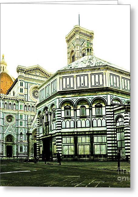 Early Morning Florentine Street Greeting Card by Emilio Lovisa