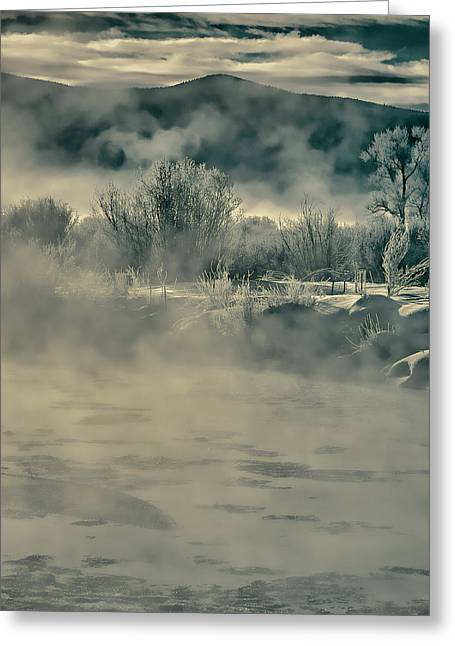 Greeting Card featuring the photograph Early Morning Frost On The River by Don Schwartz
