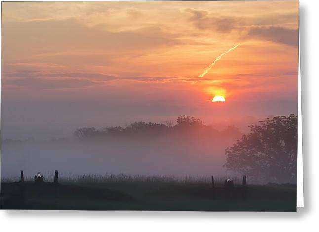 Early Morning Gettysburg Battlefield Greeting Card by Bill Caldwell