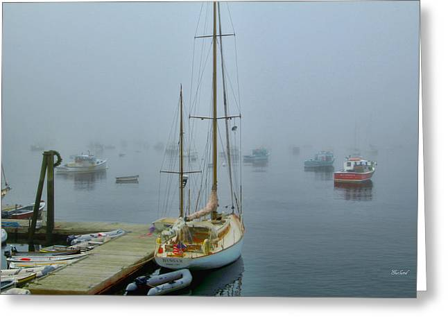 Early Morning Harbor Fog Greeting Card by Garland Johnson