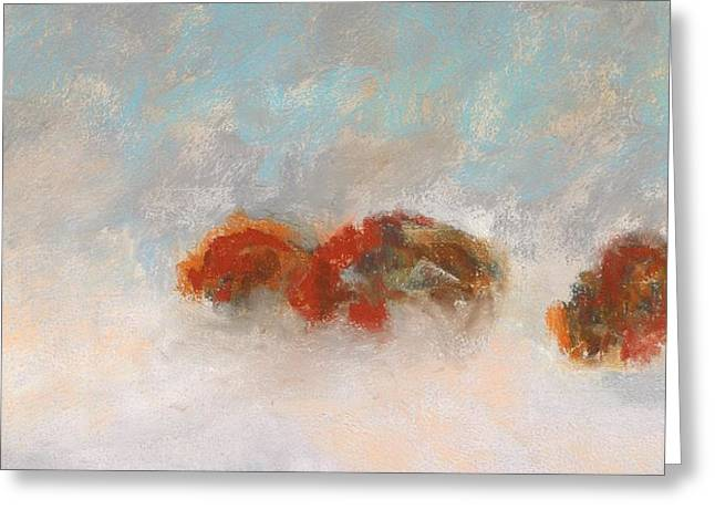 Bison Drawings Greeting Cards - Early Morning Herd Greeting Card by Frances Marino