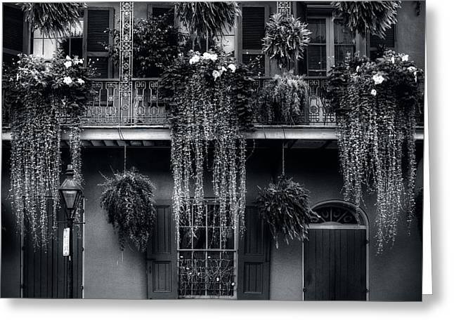 Early Morning In New Orleans In Black And White Greeting Card by Chrystal Mimbs