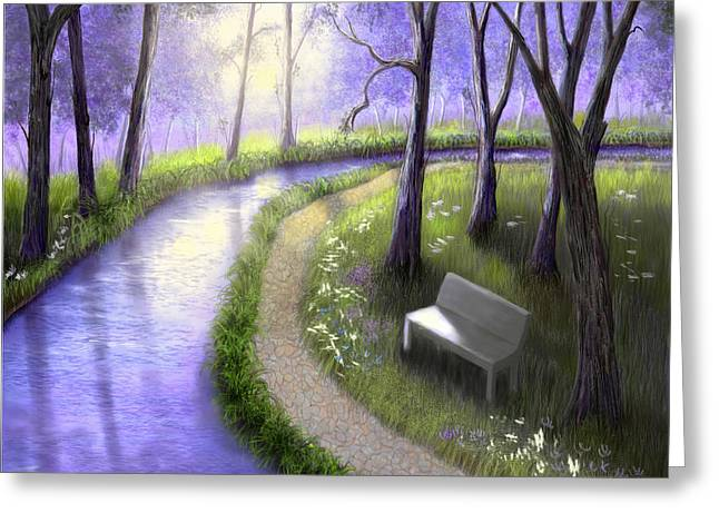 Greeting Card featuring the painting Early Morning In The Park by Sena Wilson