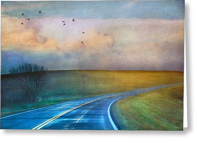 Early Morning Kansas Two-lane Highway Greeting Card