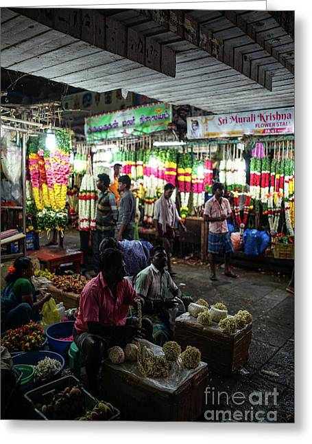 Greeting Card featuring the photograph Early Morning Koyambedu Flower Market India by Mike Reid