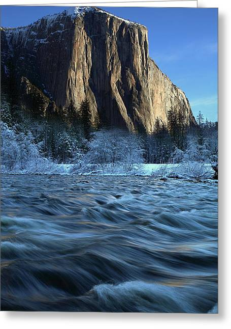 Greeting Card featuring the photograph Early Morning Light On El Capitan During Winter At Yosemite National Park by Jetson Nguyen