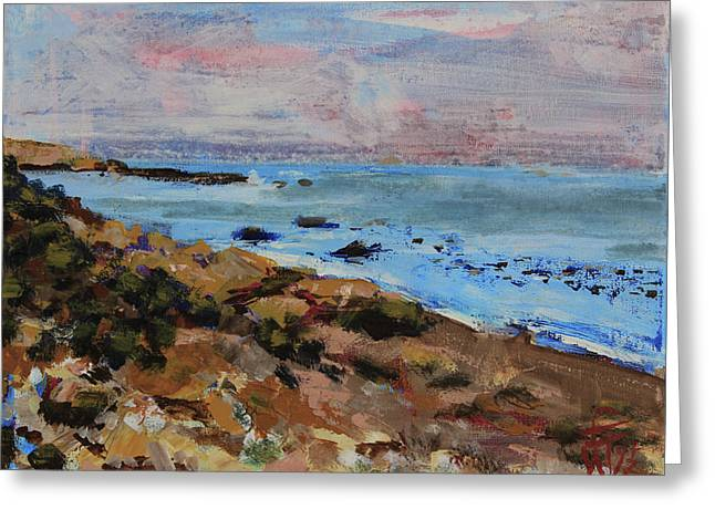 Greeting Card featuring the painting Early Morning Low Tide by Walter Fahmy