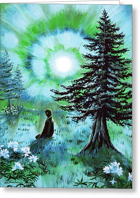Early Morning Meditation In Blues And Greens Greeting Card