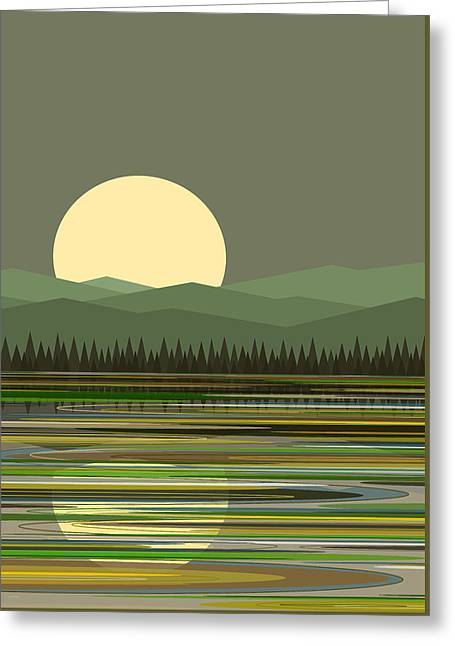 Early Morning Moon Greeting Card