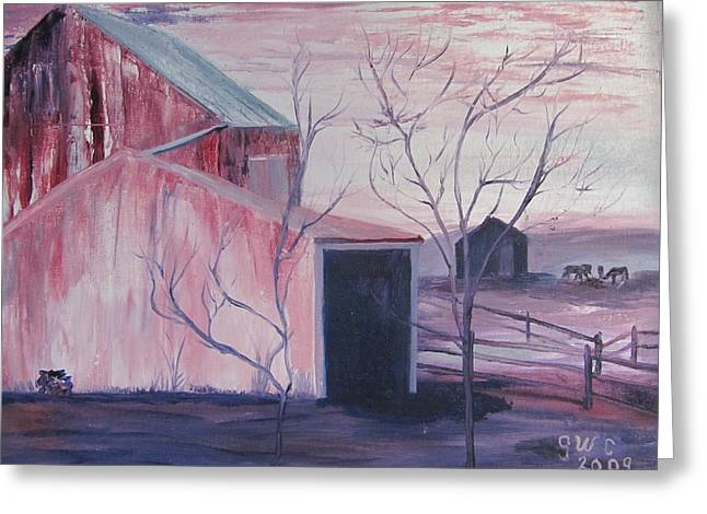 Early Morning On A Horse Farm Greeting Card by Gloria Condon