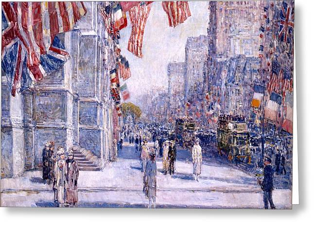 Greeting Card featuring the painting Early Morning On The Avenue In May 1917 - 1917 by Frederick Childe Hassam