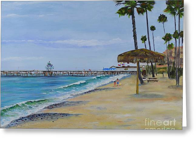 Greeting Card featuring the painting Early Morning On The Beach by Mary Scott