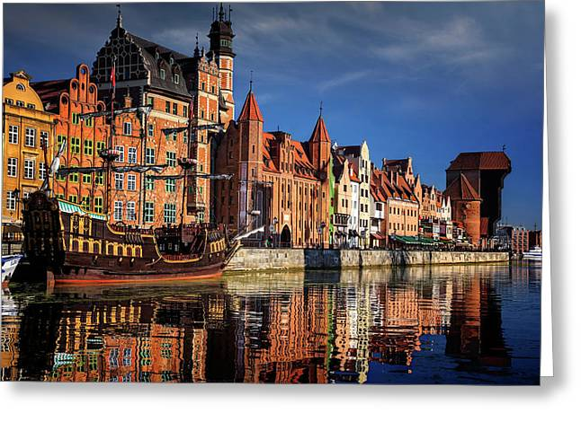 Early Morning On The Motlawa River In Gdansk Poland Greeting Card
