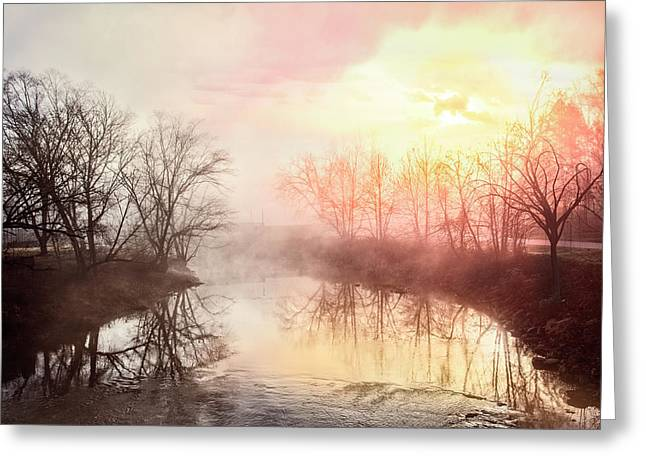 Greeting Card featuring the photograph Early Morning On The River by Debra and Dave Vanderlaan