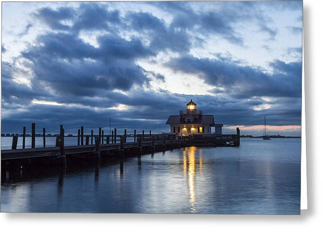 Early Morning Over Roanoke Marshes Lighthouse Greeting Card