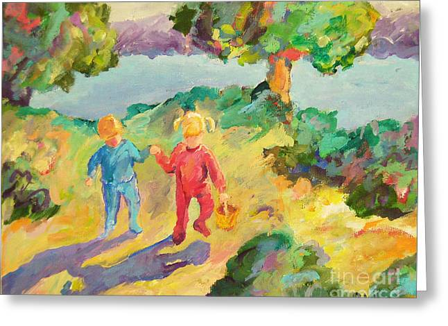 Early Morning - Little Children Greeting Card by Peggy Johnson