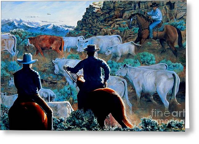 Early Morning Roundup Greeting Card by Ruanna Sion Shadd a'Dann'l Yoder