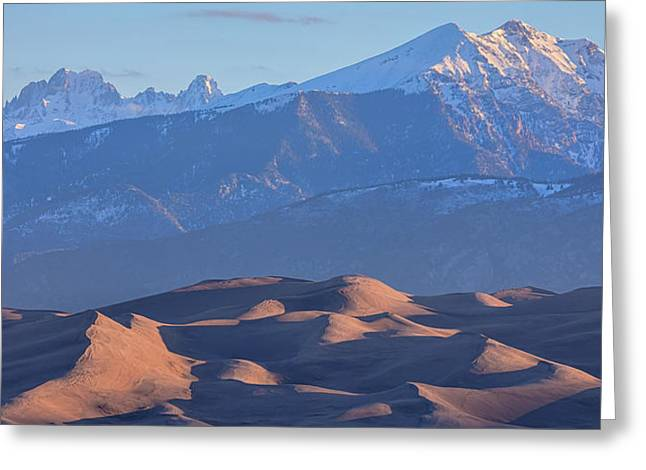 Early Morning Sand Dunes And Snow Covered Peaks Greeting Card by James BO Insogna