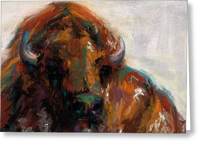 Bison Drawings Greeting Cards - Early Morning Sunrise Greeting Card by Frances Marino