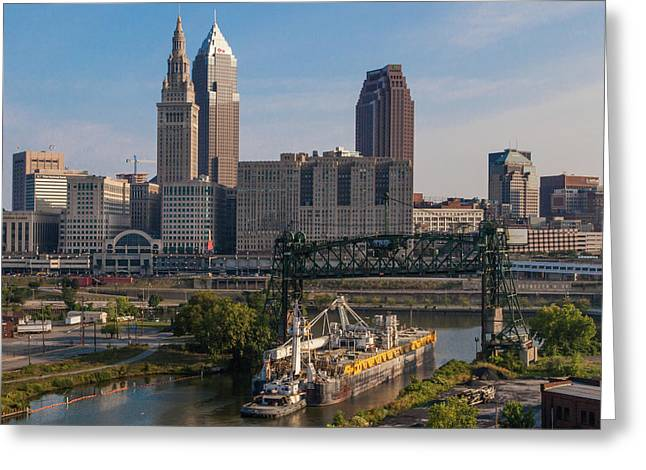 Early Morning Transport On The Cuyahoga River Greeting Card