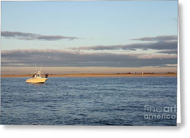 Early Morning Trolling For Striped Bass Greeting Card by John Telfer