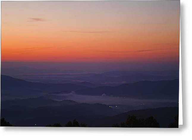 Early Morning Valley Fog Greeting Card by Michael Whitaker