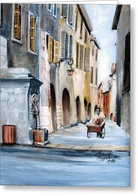 Leonardo Ruggieri Greeting Cards - Early Morning Vendor  Greeting Card by Leonardo Ruggieri