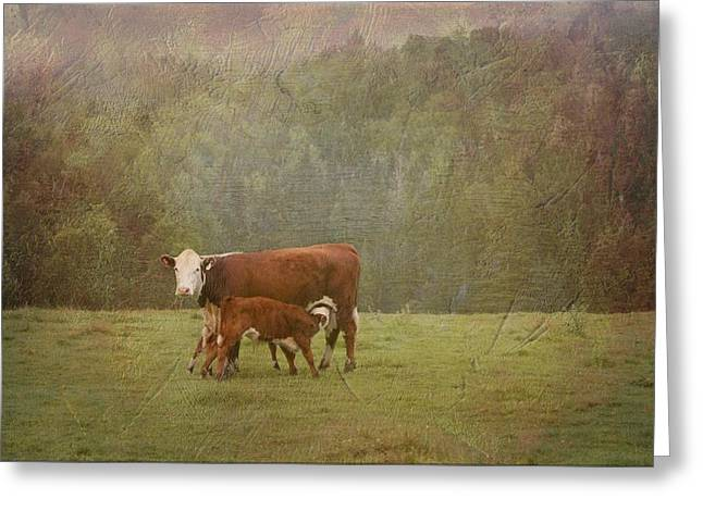 Early Morning Breakfast-cow Style Greeting Card