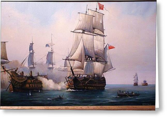 Greeting Card featuring the painting Early Painting Of The Battle Of Trafalgar. by Mike Jeffries