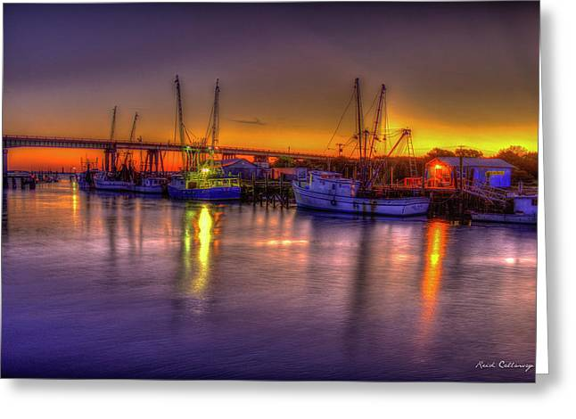 Early Readiness Tybee Island Georgia Shrimp Boat Art Greeting Card by Reid Callaway
