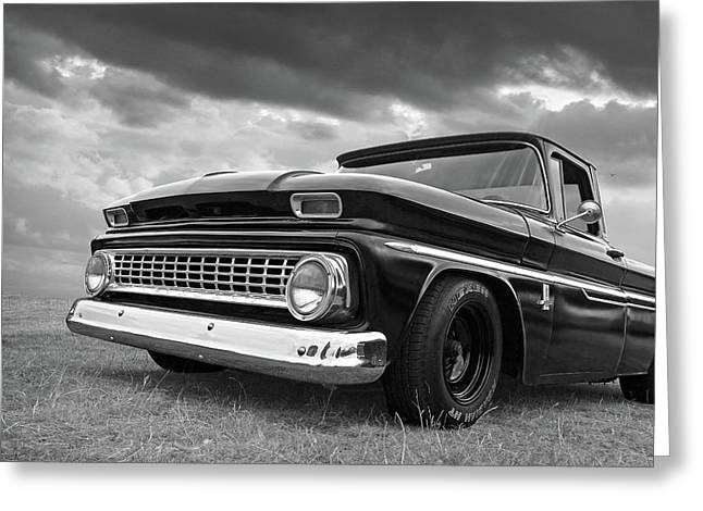 Early Sixties Chevy C10 In Black And White Greeting Card by Gill Billington