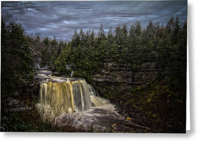 Early Snow At Black Water Falls Greeting Card