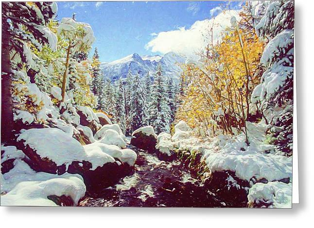 Greeting Card featuring the photograph Early Snow by Eric Glaser