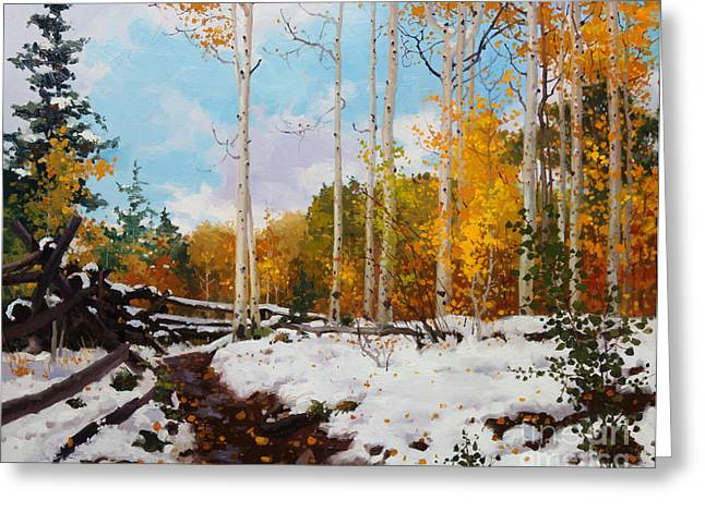 South West Greeting Cards - Early snow of Santa Fe National Forest Greeting Card by Gary Kim