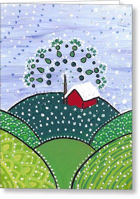 Early Snow On The Little Red Barn Greeting Card