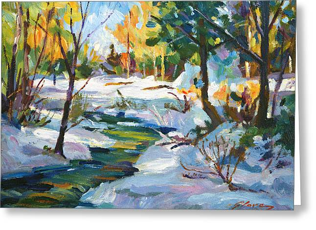 Best Seller Greeting Cards - Early Snowfall plein aire  Greeting Card by David Lloyd Glover