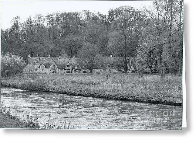Early Spring In England Black And White Greeting Card