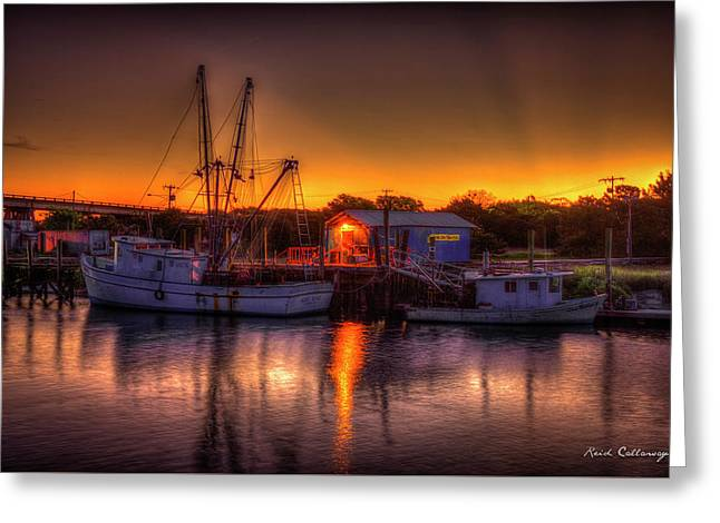 Early Start Reflections Shrimp Boat Art Tybee Island Greeting Card by Reid Callaway