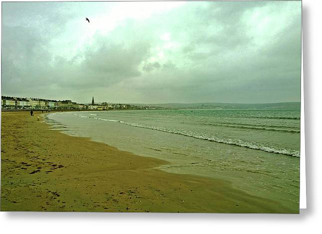 Greeting Card featuring the photograph Early Walk Weymouth Beach by Anne Kotan