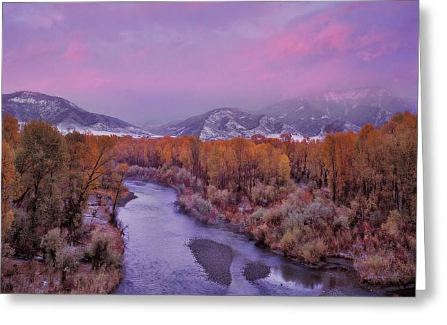 Early Winter Sunset Greeting Card by Leland D Howard