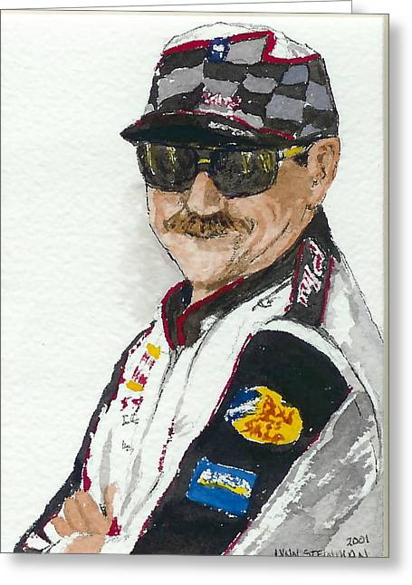Greeting Card featuring the painting Earnhardt Attitude by Lynn Babineau