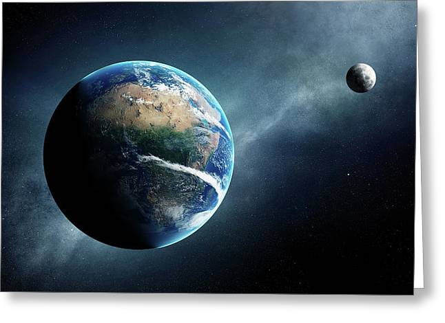 Earth And Moon Space View Greeting Card by Johan Swanepoel